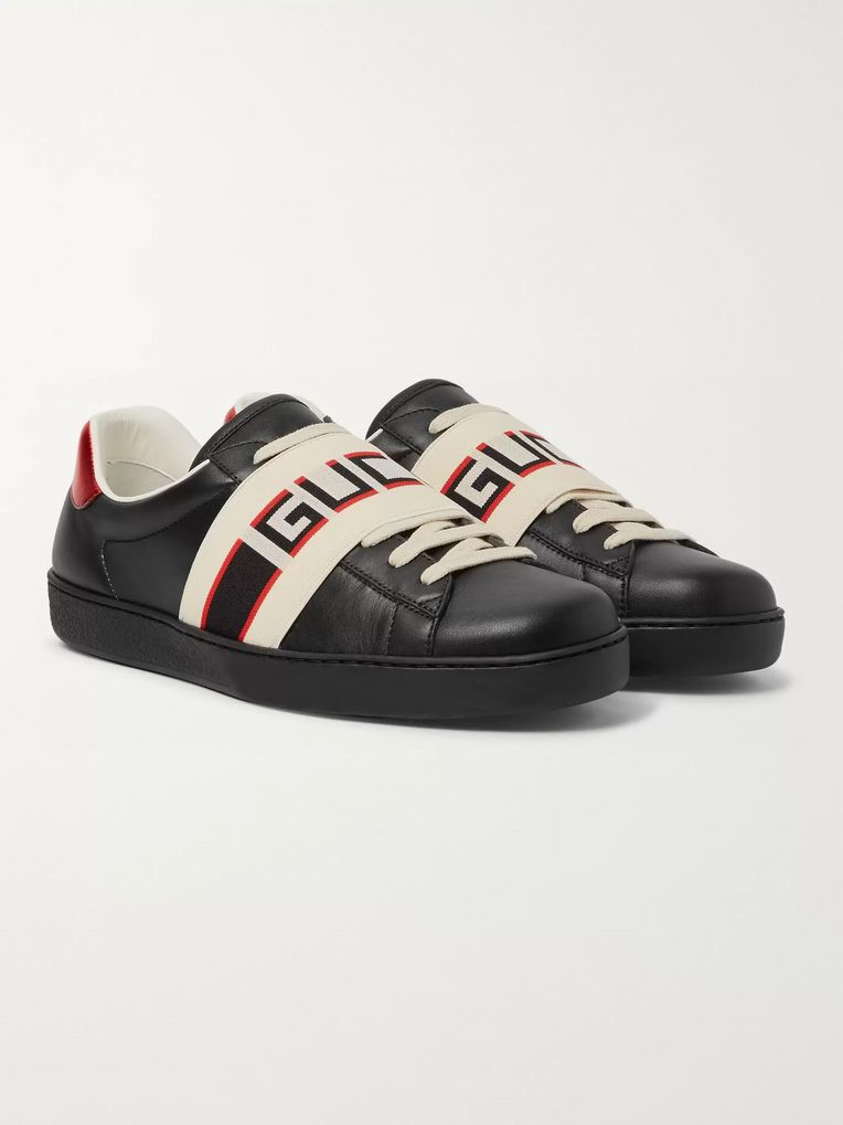 Gucci Logo-Print Leather Sneakers