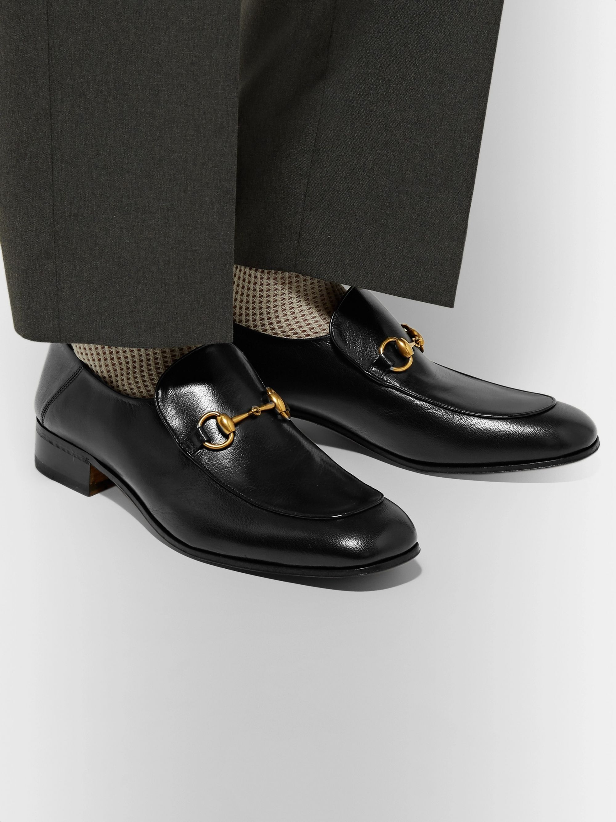 Gucci Mister Horsebit Collapsible-Heel Leather Loafers
