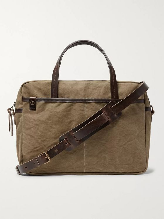 Bleu de Chauffe Leather-Trimmed Canvas Briefcase