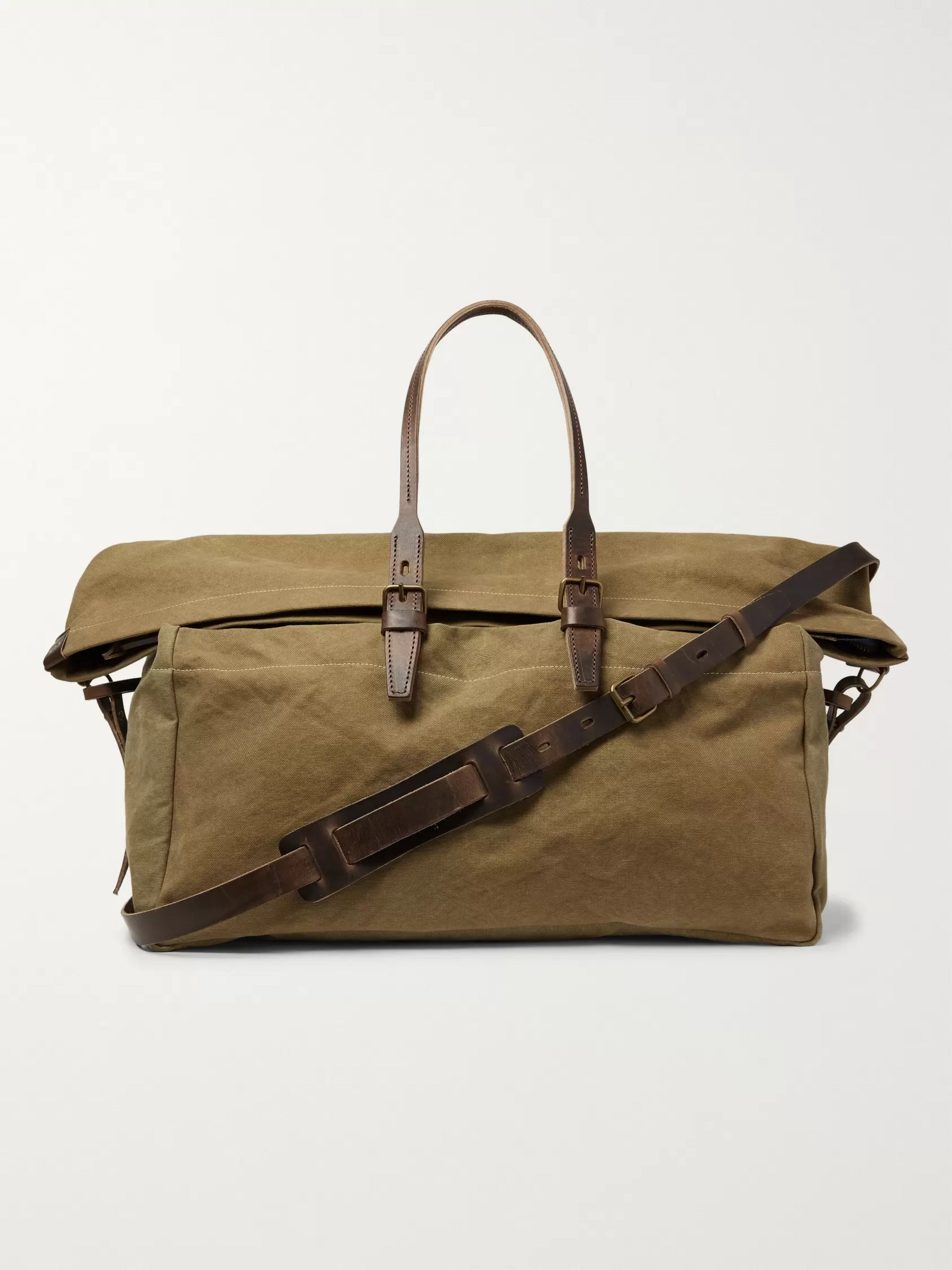 Bleu de Chauffe Cabine Leather-Trimmed Stonewashed Cotton-Canvas Holdall