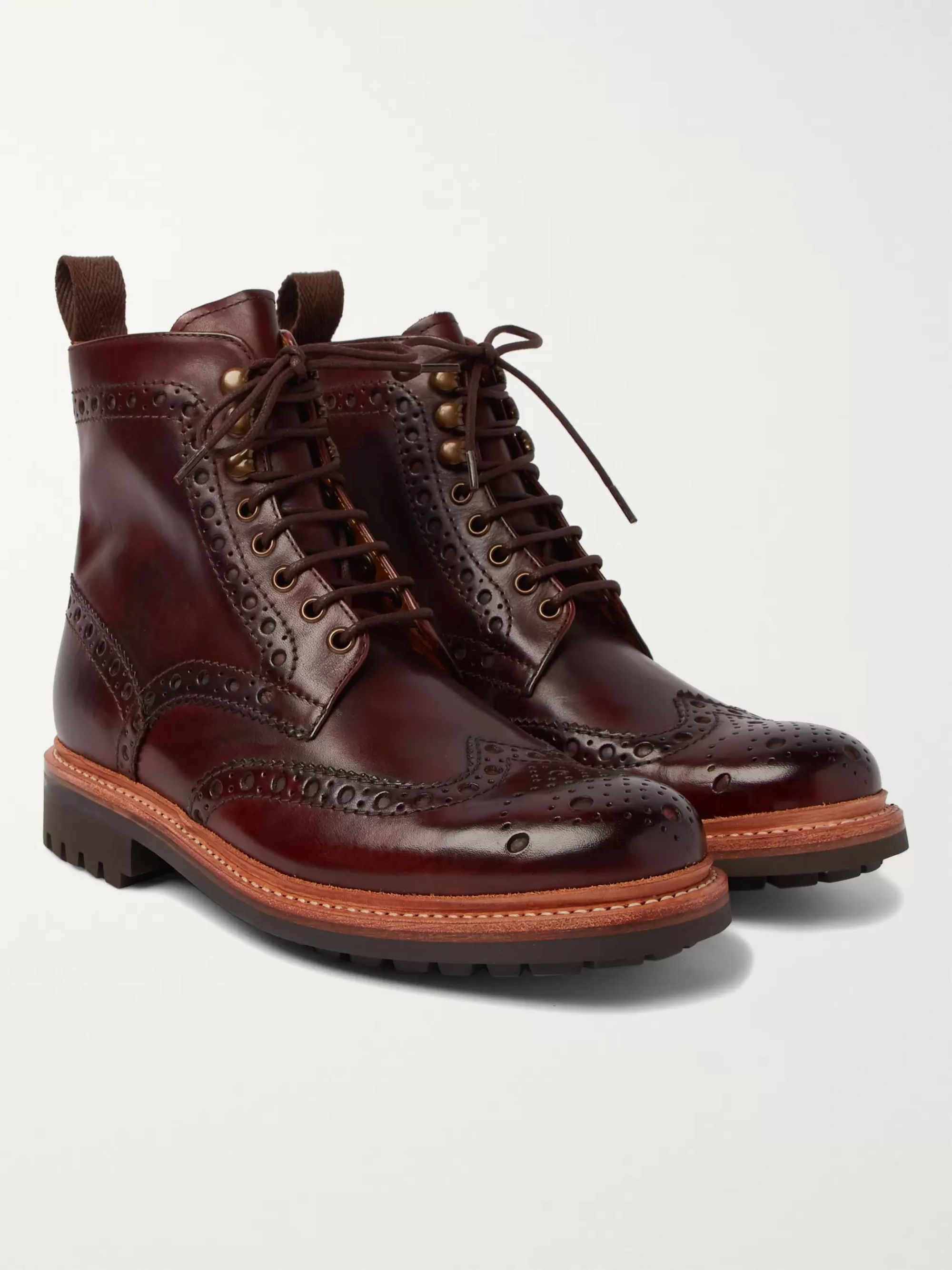 c74a519a5ff Fred Burnished-Leather Brogue Boots
