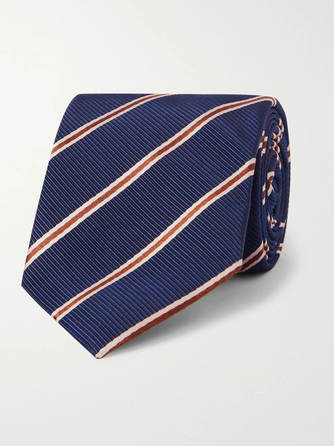Kingsman Drake's 8cm Striped Silk And Cotton-blend Faille Tie In Blue