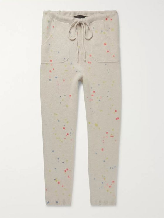 The Elder Statesman Slim-Fit Tapered Paint-Splattered Cashmere Sweatpants