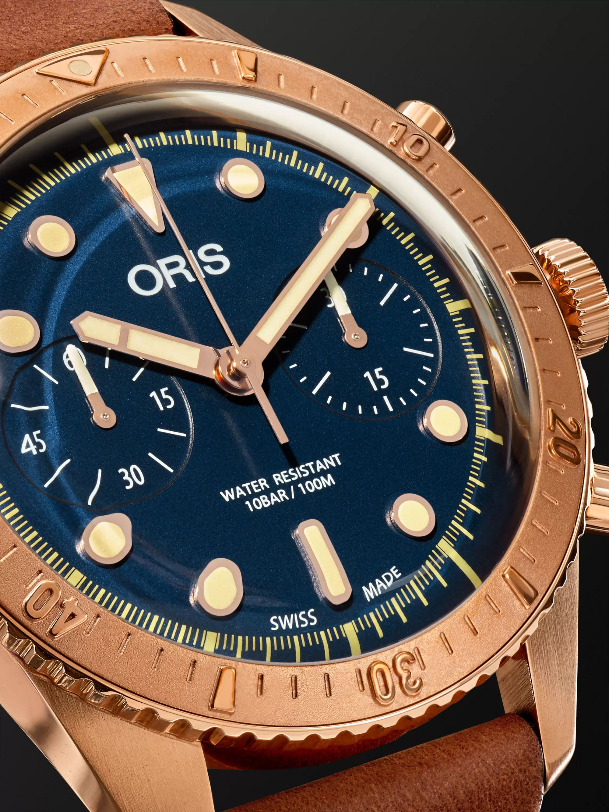 Oris Carl Brashear Chronograph 43mm Burnished Bronze and Leather Watch, Ref. No. 01 774 7744 3185