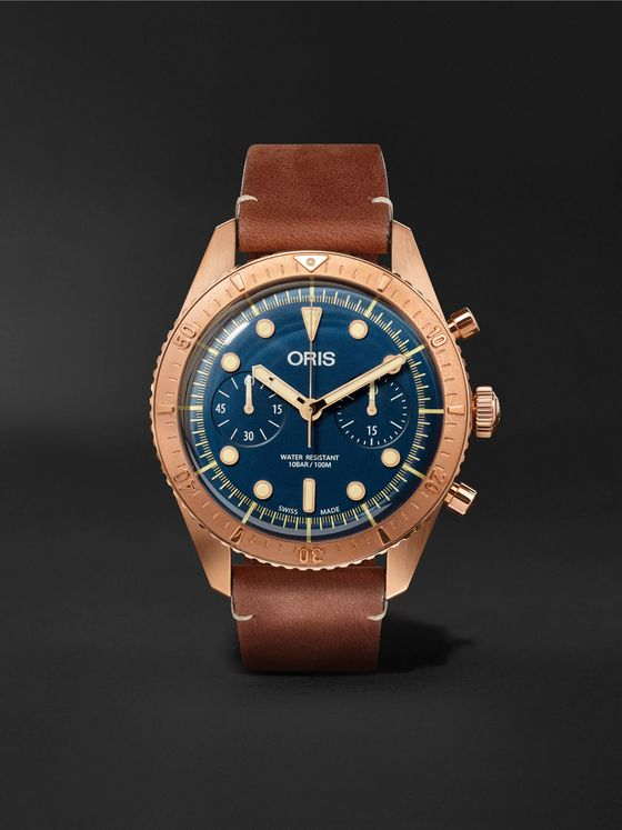 Oris Carl Brashear Automatic Chronograph 43mm Burnished Bronze and Leather Watch, Ref. No. 01 774 7744 3185