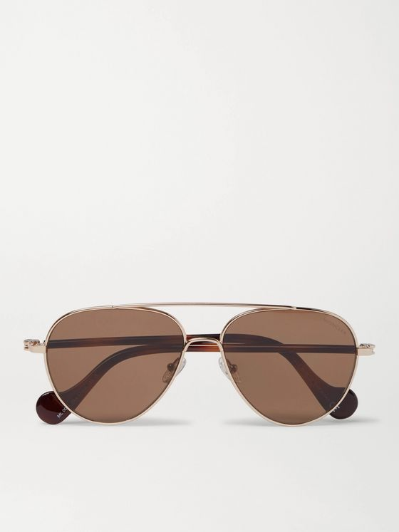 MONCLER Aviator-Style Gold-Tone and Tortoiseshell Acetate Sunglasses