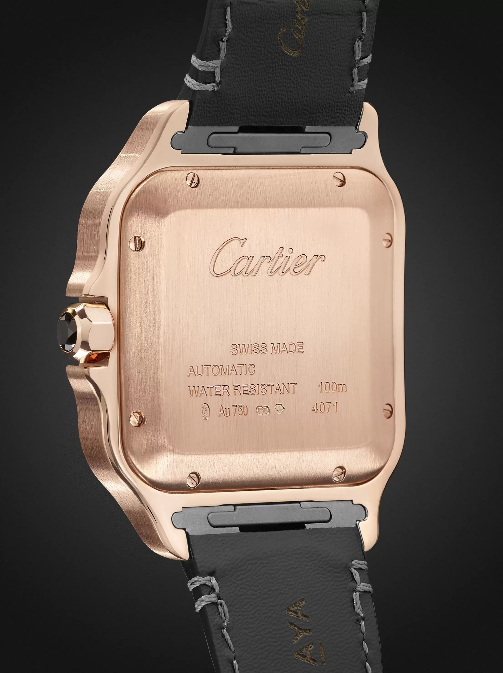 Cartier Santos Automatic 39.8mm 18-Karat Rose Gold Interchangeable Alligator and Leather Watch, Ref. No. WGSA0011