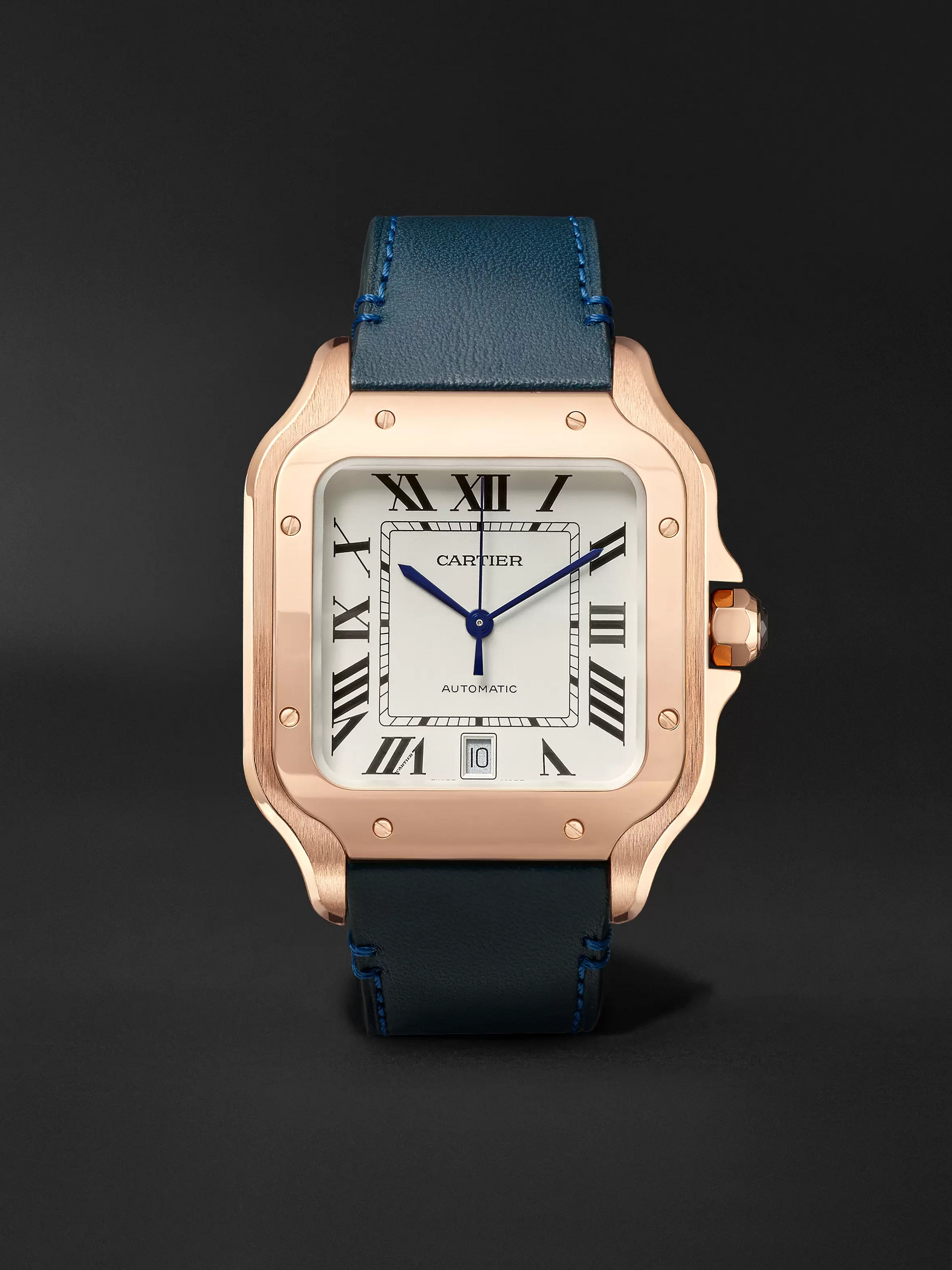 Cartier Santos Automatic 39.8mm 18-Karat Rose Gold Interchangeable Alligator and Leather Watch