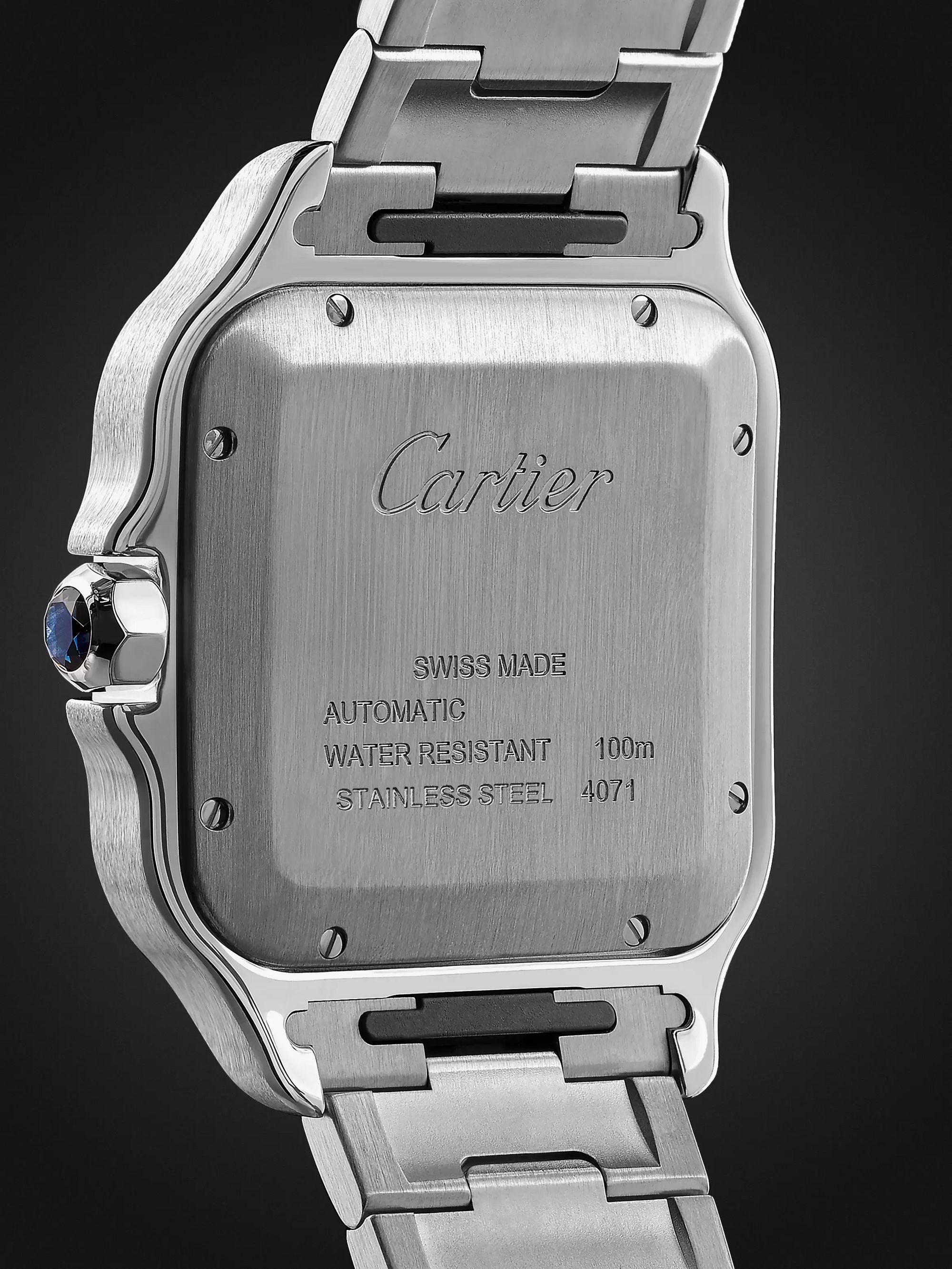CARTIER Santos 39.8mm Interchangeable Stainless Steel and Leather Watch , Ref. No. WSSA0009