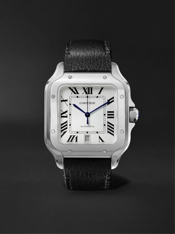 Cartier Santos 39.8mm Interchangeable Stainless Steel and Leather Watch, Ref. No. CRWSSA0009