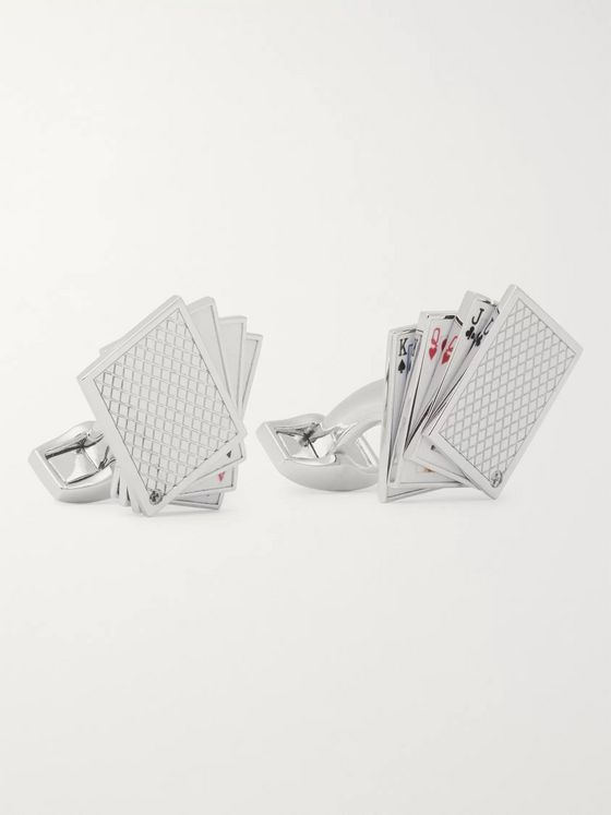 TATEOSSIAN Playing Cards Rhodium-Plated and Enamel Cufflinks