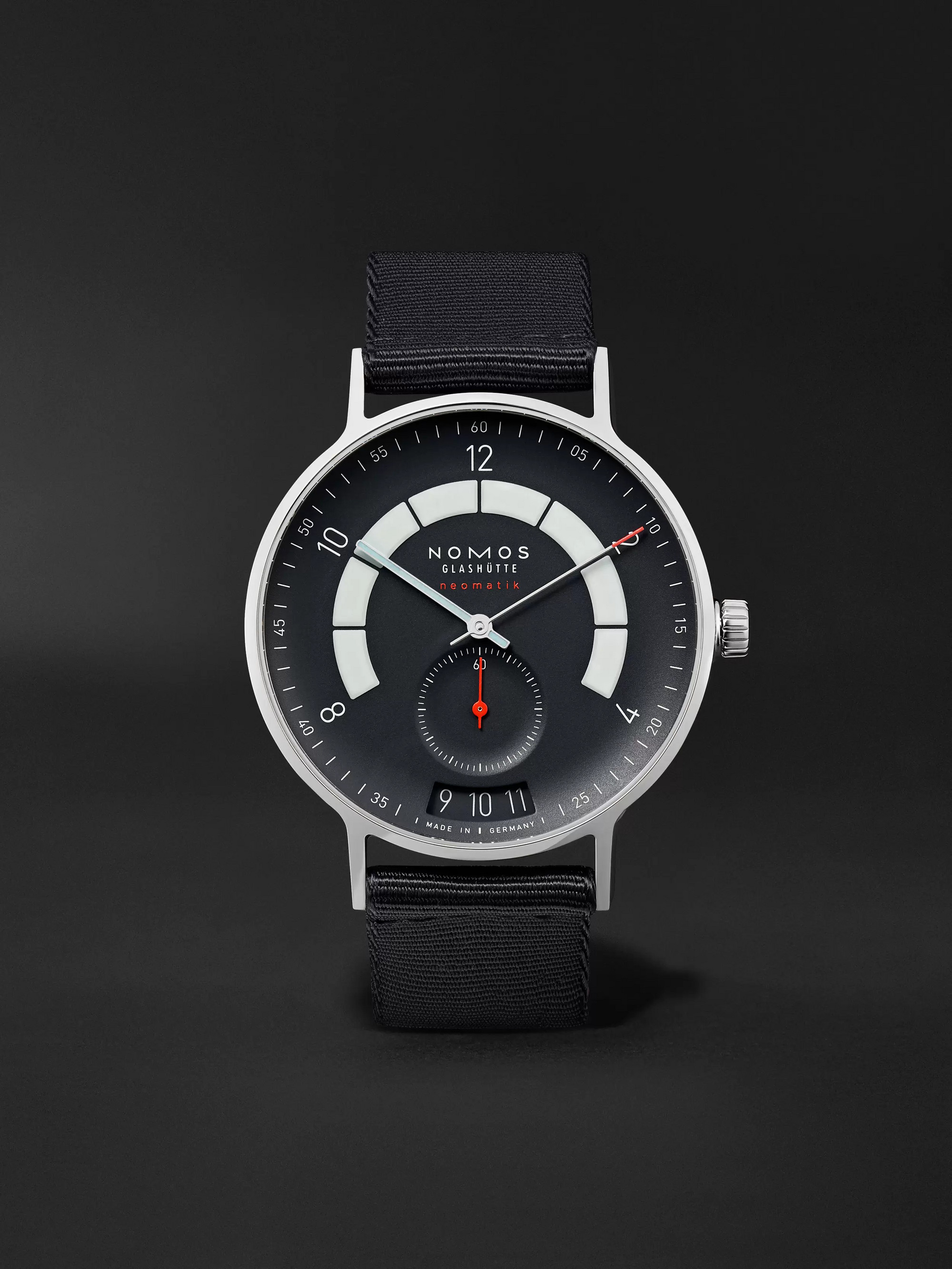 NOMOS Glashütte Autobahn Neomatik Datum Automatic 41mm Stainless Steel and Nylon Watch