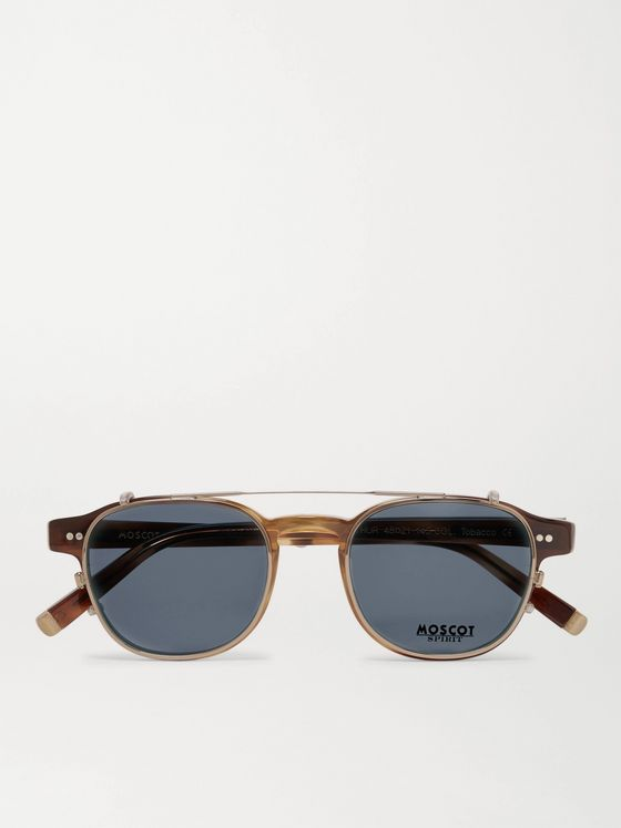 Moscot Arthur Round-Frame Tortoiseshell Acetate Optical Glasses with Clip-On UV Lenses