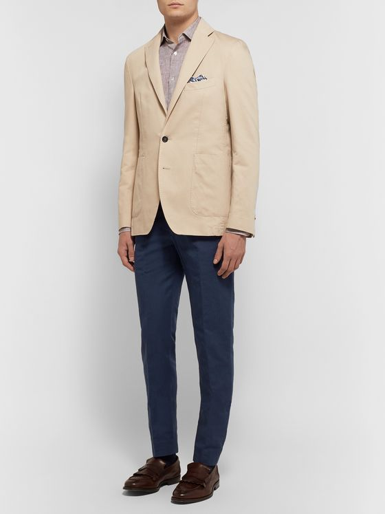 SALLE PRIVÉE Navy Gehry Slim-Fit Cotton and Linen-Blend Suit Trousers