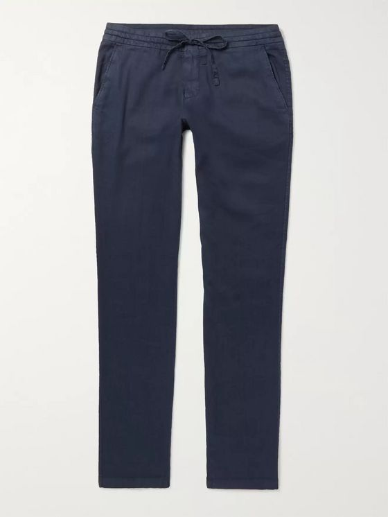 Loro Piana Slim-Fit Stretch Linen and Cotton-Blend Drawstring Trousers