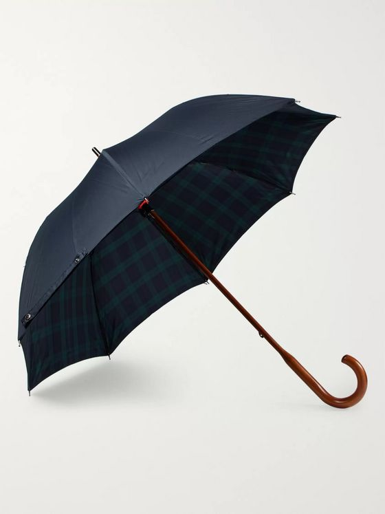London Undercover Black Watch-Lined Wood-Handle Umbrella