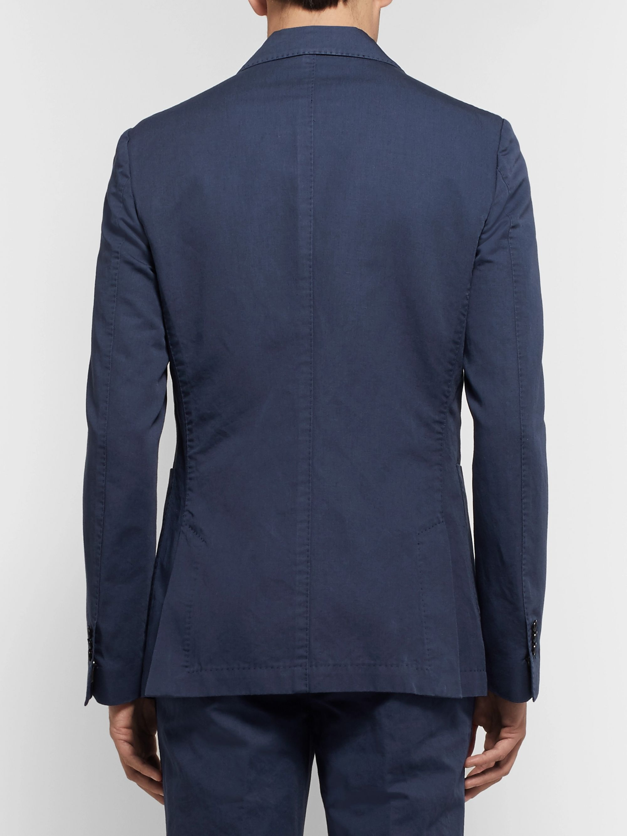 SALLE PRIVÉE Navy Ross Slim-Fit Unstructured Cotton and Linen-Blend Suit Jacket