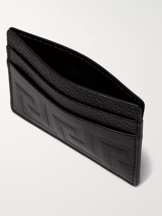 Versace Logo-Debossed Leather Cardholder
