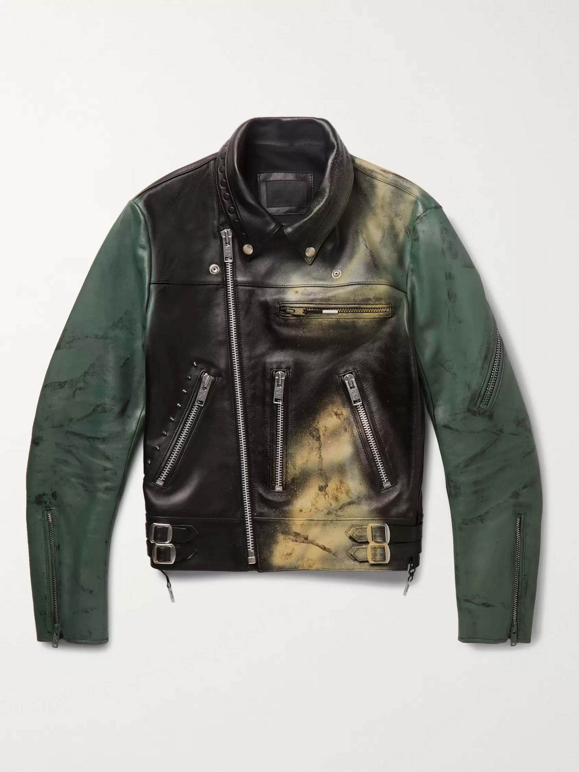 99%IS- Spray-Painted Leather Biker Jacket