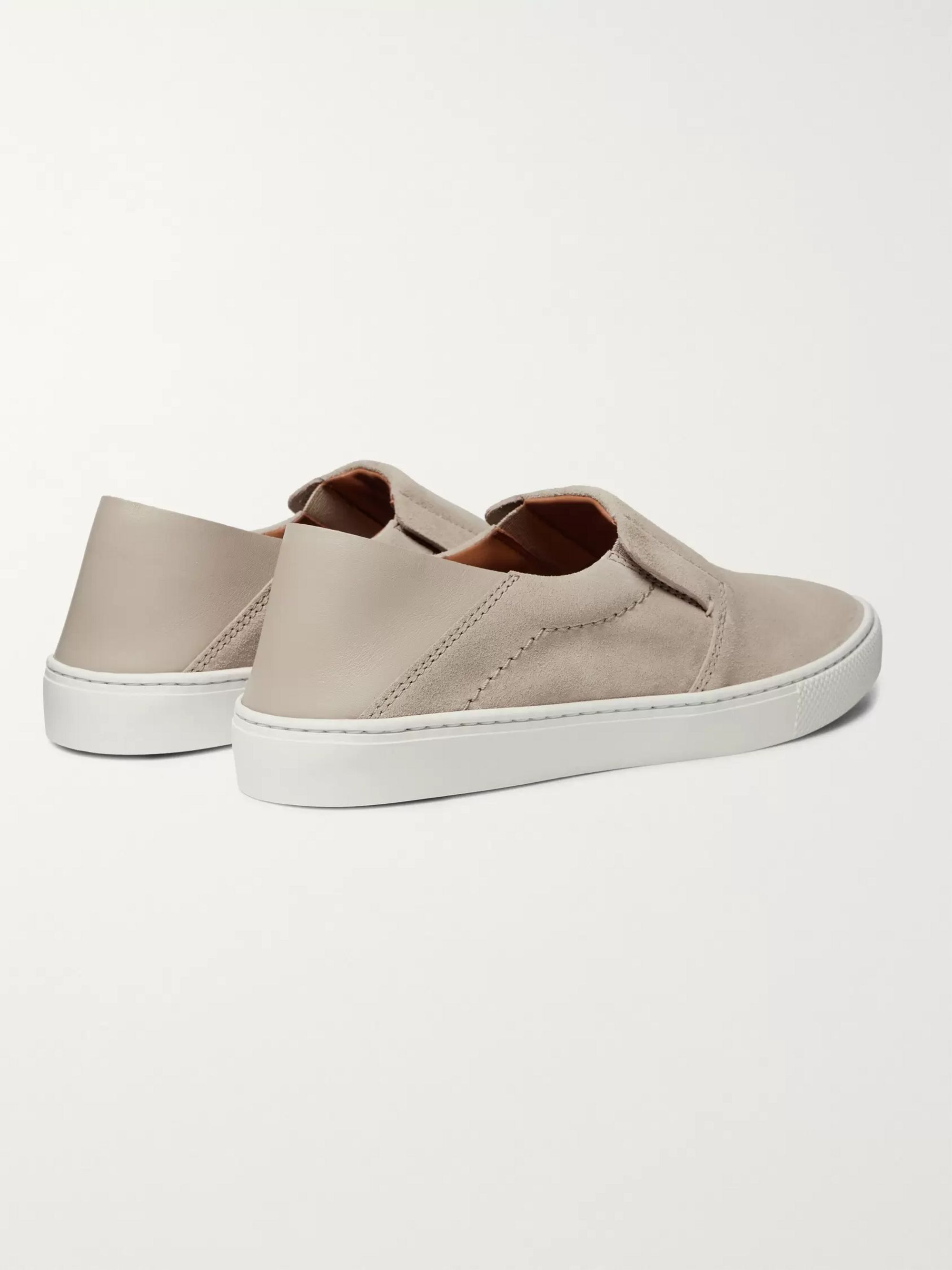 Ermenegildo Zegna Luigi Collapsible-Heel Suede and Leather Slip-On Sneakers