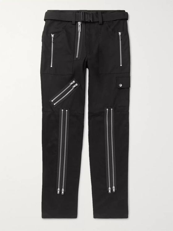99%IS- Slim-Fit Zip-Detailed Twill Trousers