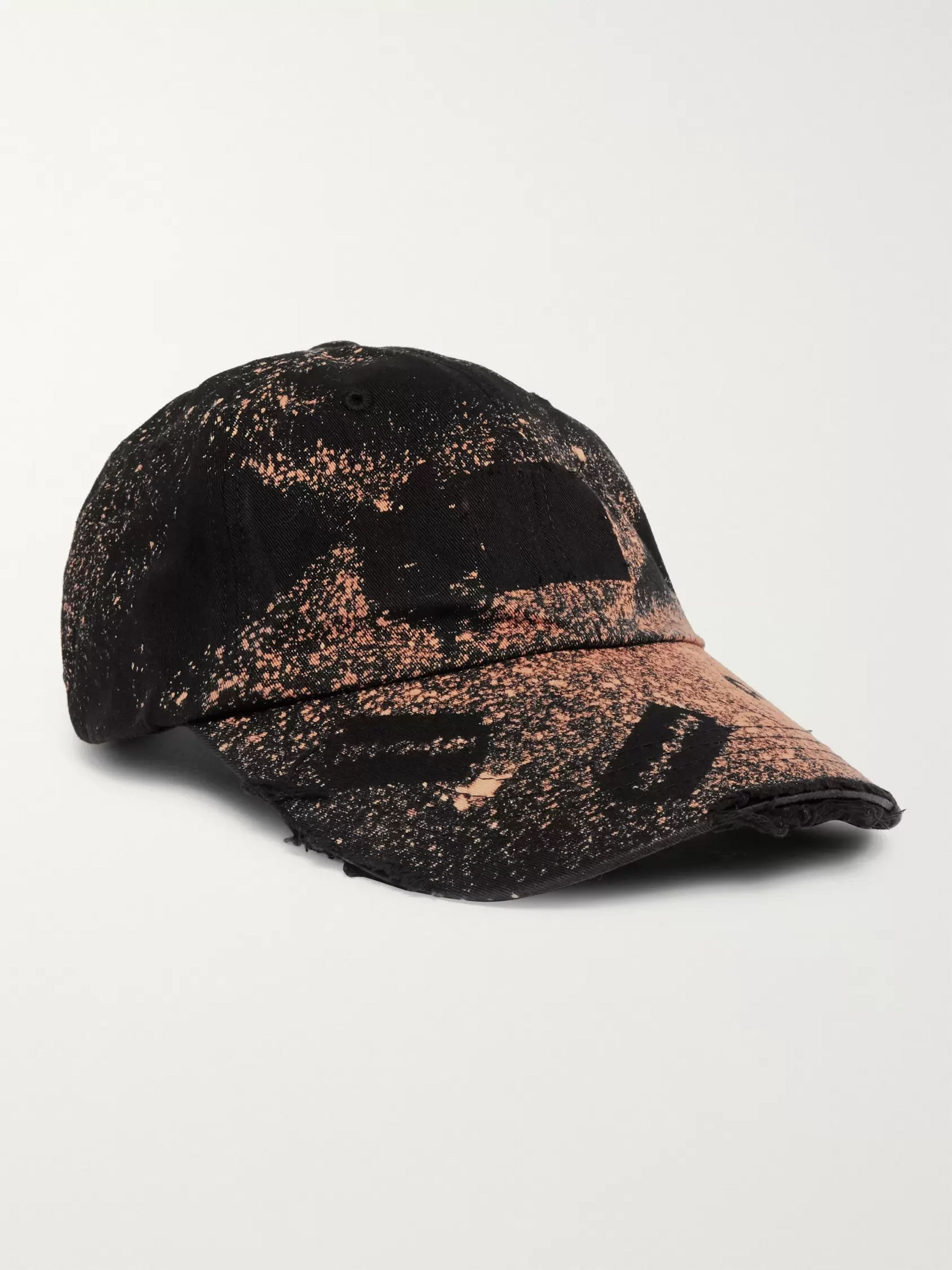 99%IS- Distressed Spray-Painted Cotton-Twill Baseball Cap