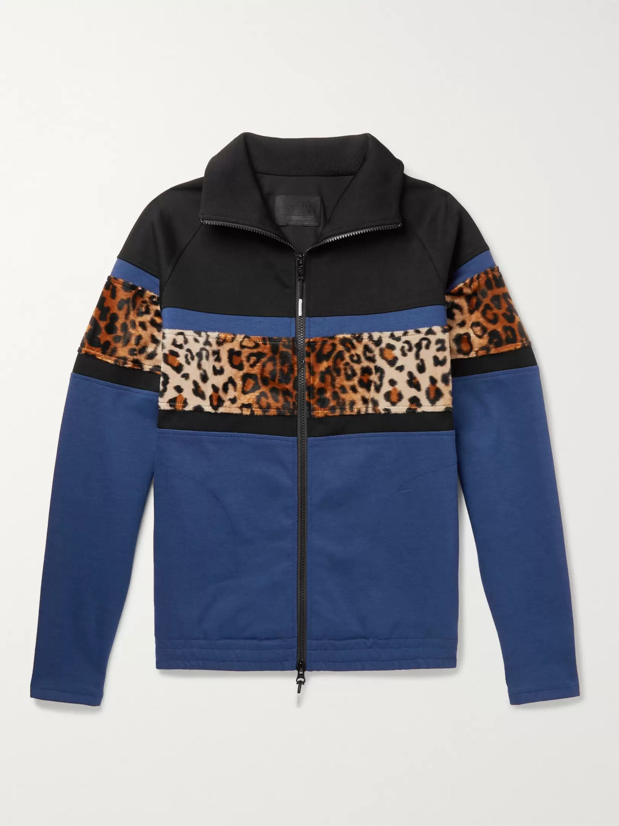 99%IS- Leopard-Print Faux Fur-Trimmed Stretch-Jersey Track Jacket