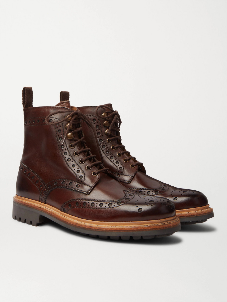 Grenson Fred Burnished-Leather Brogue Boots