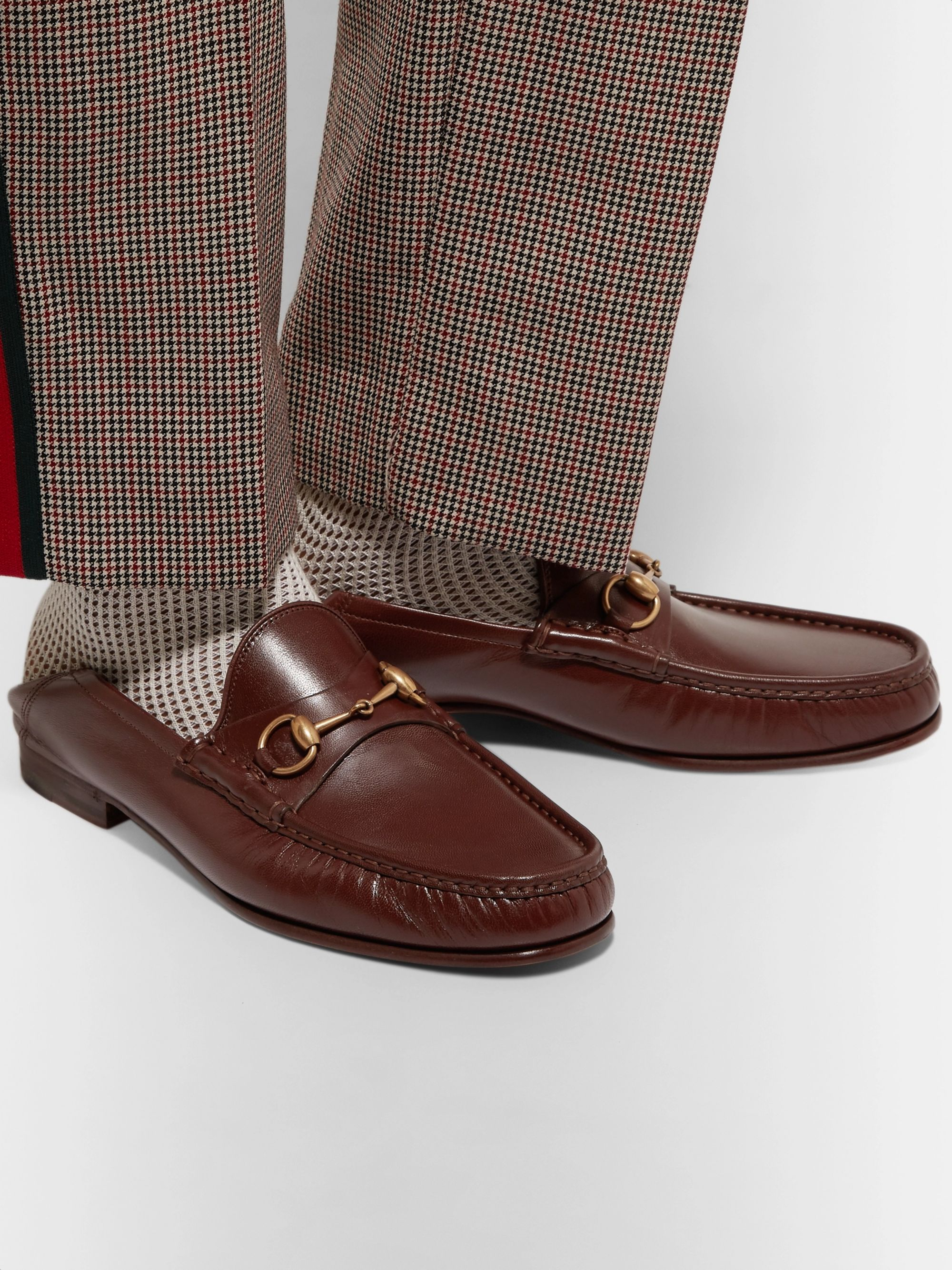Gucci Easy Roos Horsebit Collapsible-Heel Leather Loafers