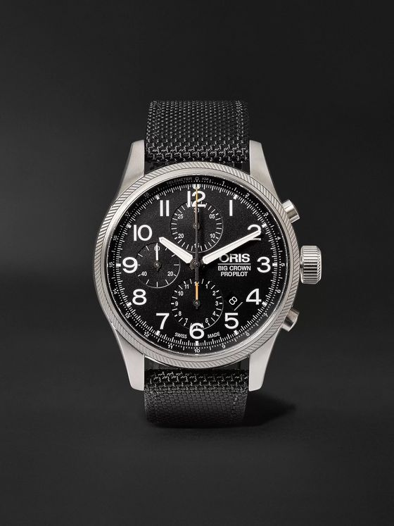 Oris Pro Pilot Automatic Chronograph 44mm Stainless Steel and Canvas Watch, Ref. No. 774 7699 4134TS