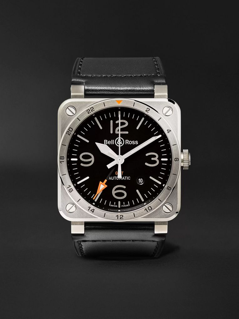 Bell & Ross BR 03-93 GMT 42mm Steel and Leather Watch, Ref. No. BR0393‐GMT-ST/SCA