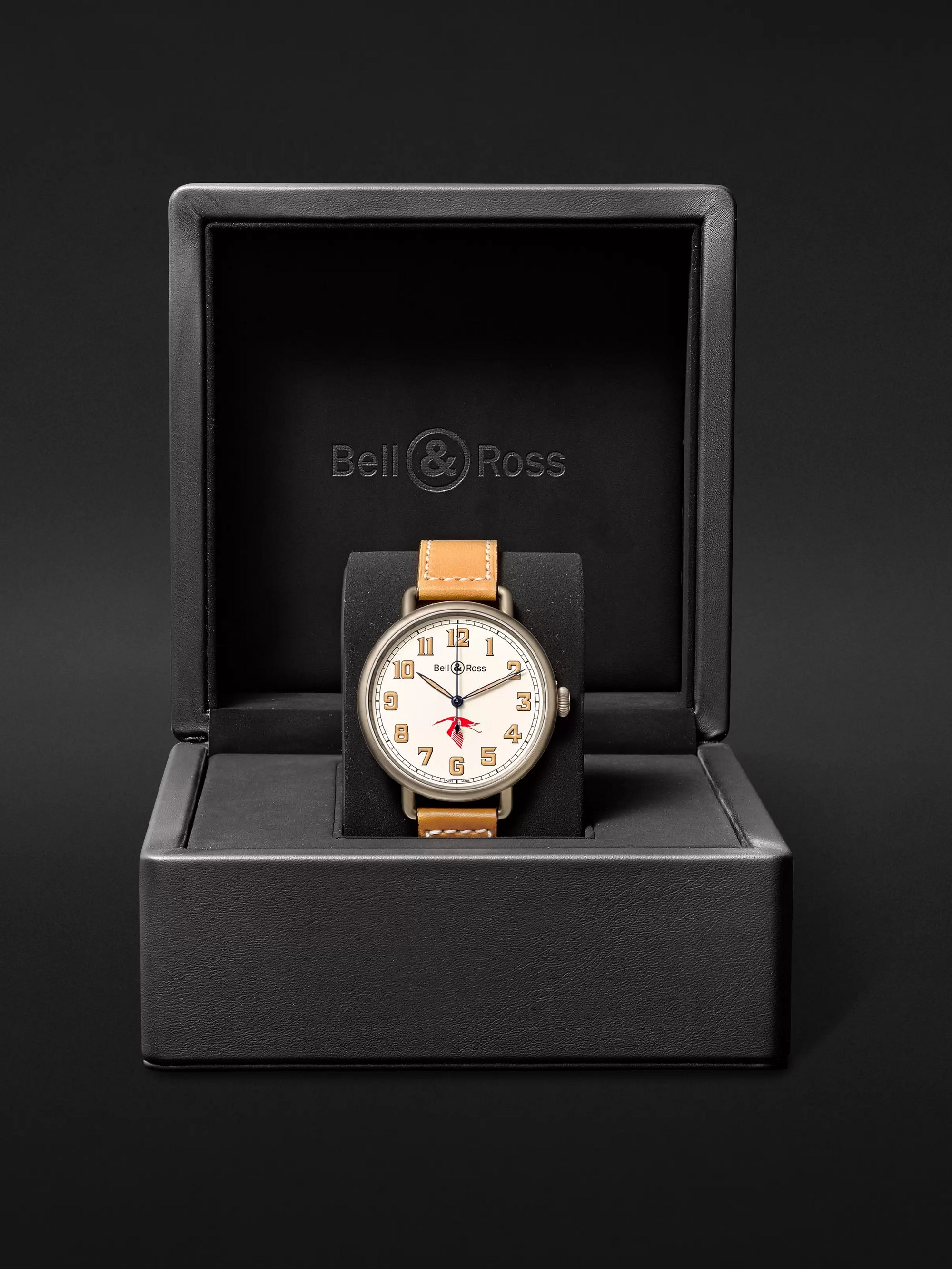 Bell & Ross WW1-92 45mm Steel and Leather Watch, Ref. No. BRWW192-GUYNEMER