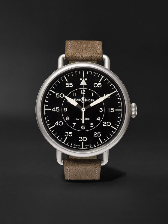 Bell & Ross WW1-92 45mm Steel and Distressed Suede Watch, Ref. No. BRWW192‐MIL/SCA