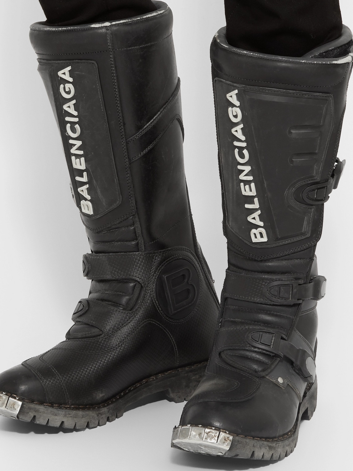 Balenciaga Boots LEATHER MOTORCYCLE BOOTS