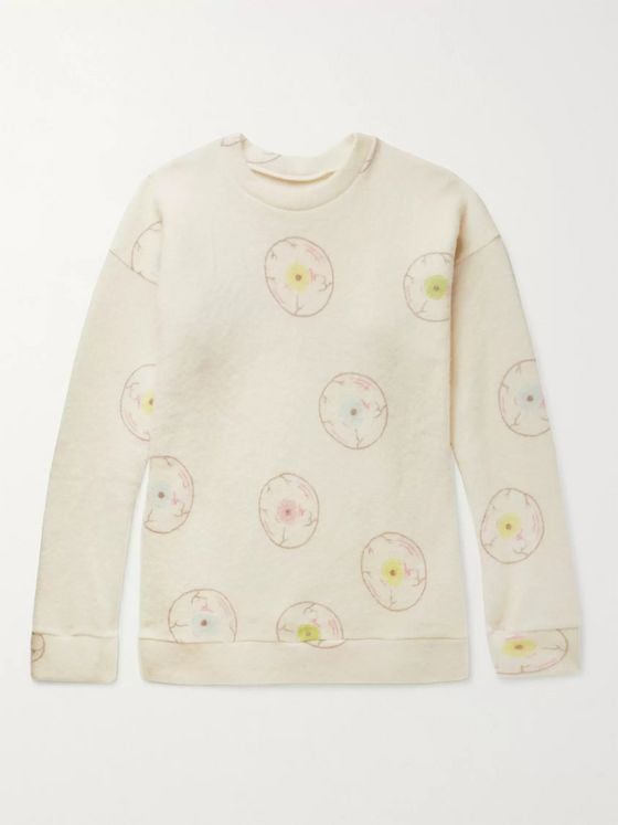 The Elder Statesman Oversized Printed Felted Cashmere-Blend Sweatshirt