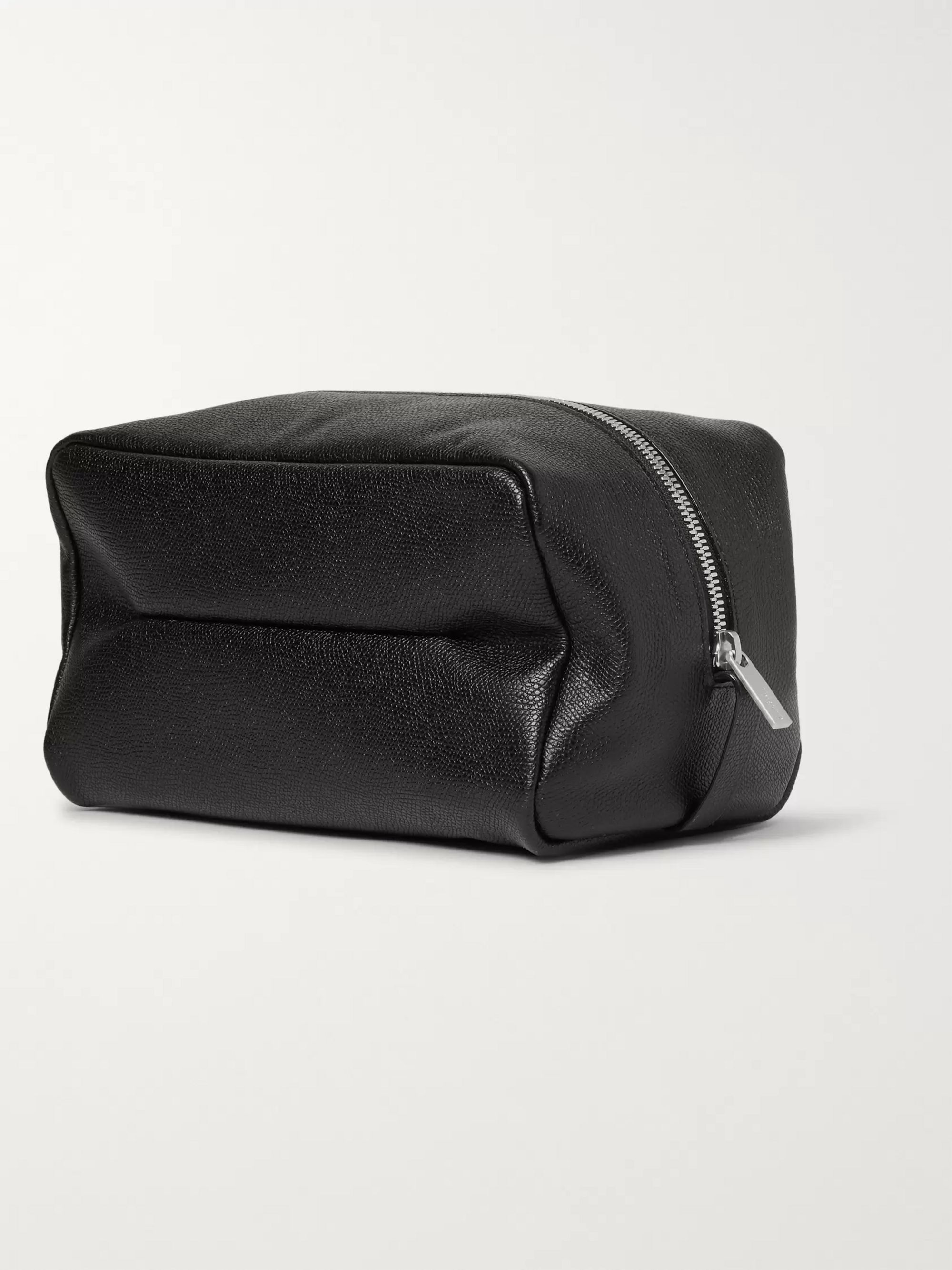 Valextra Large Pebble-Grain Leather Wash Bag