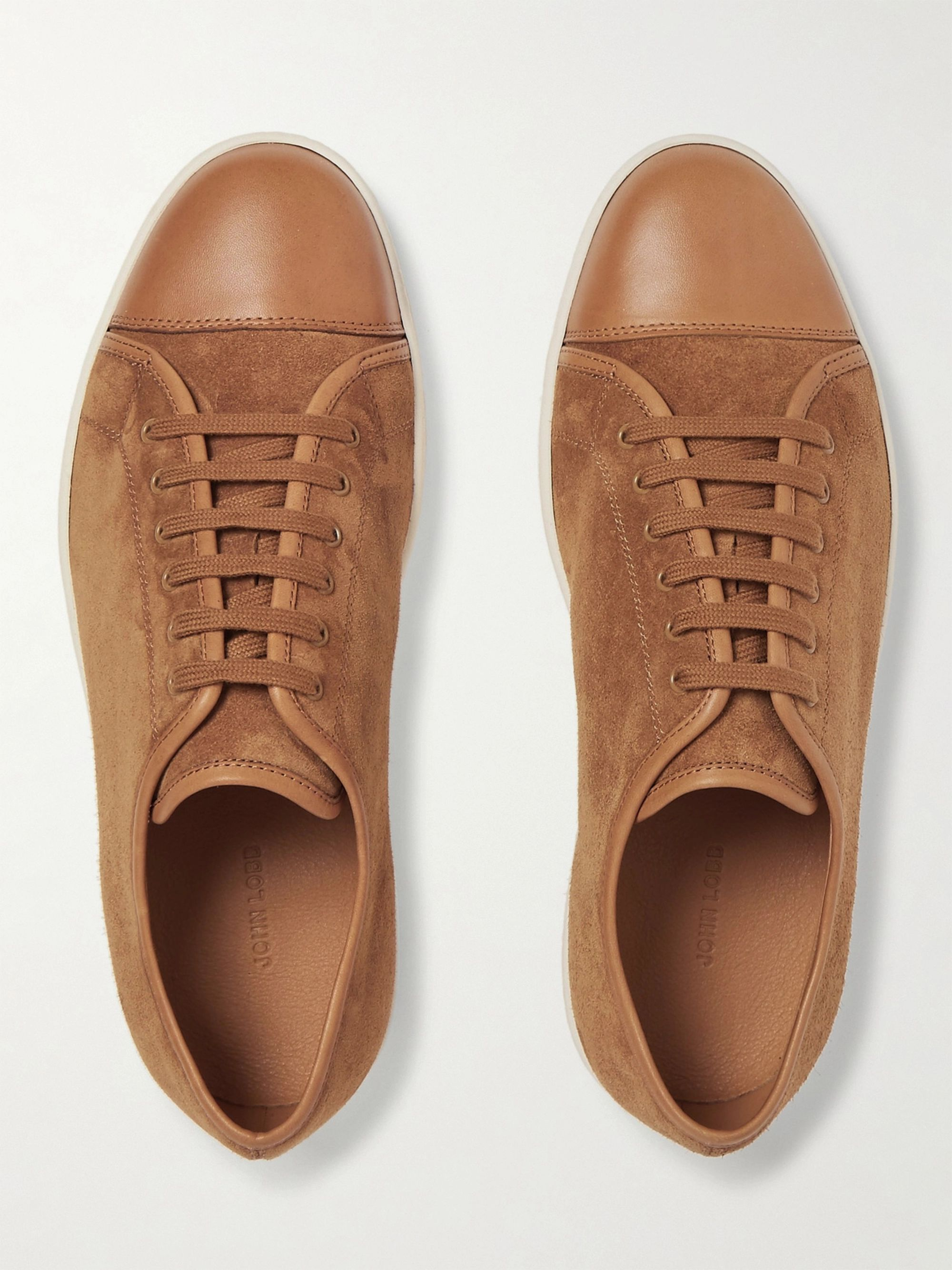 John Lobb Levah Cap-Toe Leather and Suede Sneakers