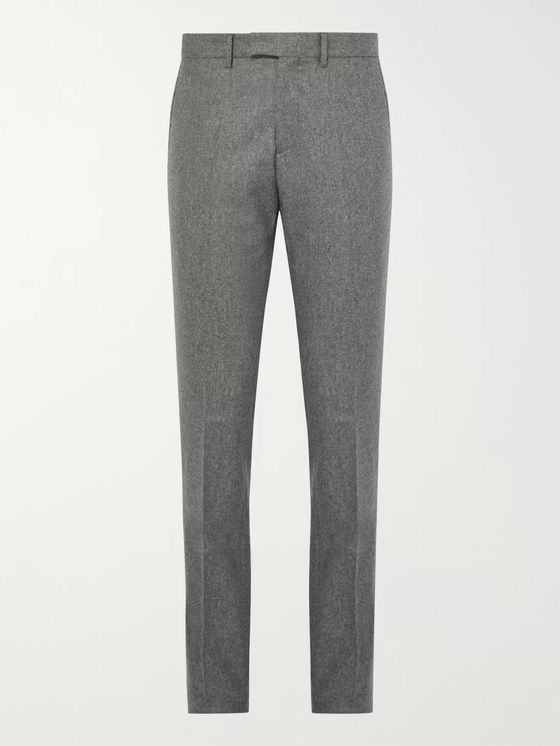SALLE PRIVÉE Grey Rocco Slim-Fit Mélange Wool-Flannel Suit Trousers