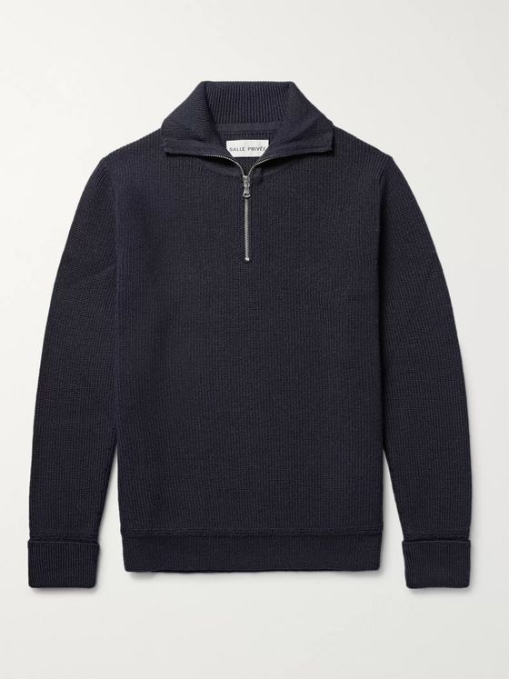 SALLE PRIVÉE Rikard Virgin Wool Half-Zip Sweater