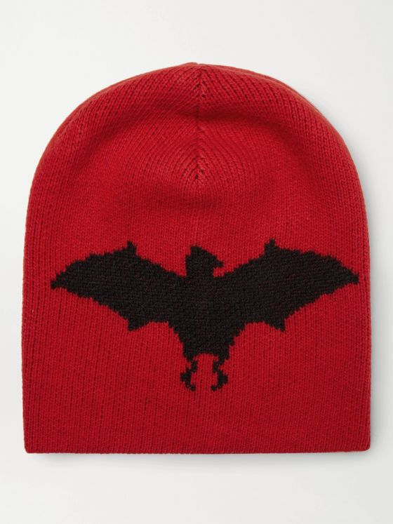 GUCCI Bat-Intarsia Wool and Alpaca-Blend Beanie