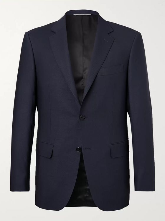 Canali Navy Travel Wool-Hopsack Blazer