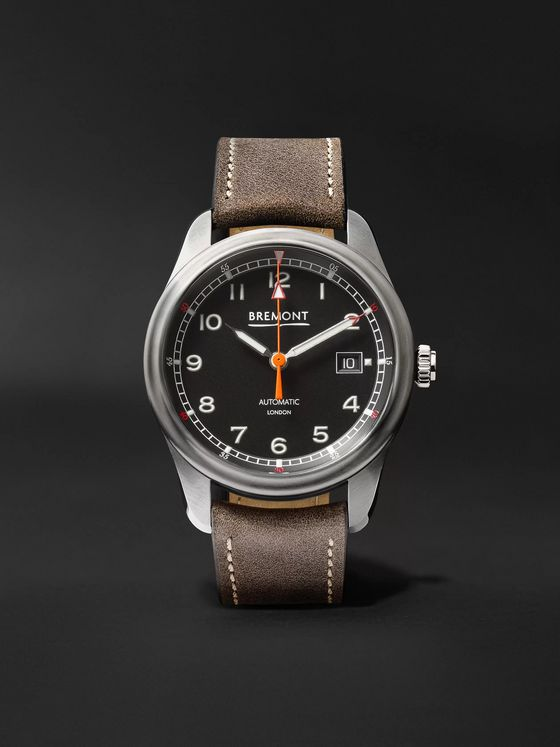 Bremont Airco Mach 1 Black Automatic 40mm Stainless Steel and Leather Watch, Ref. AIRCO-M1-BK-R-S
