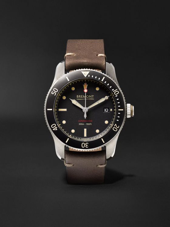 BREMONT Supermarine S301 Black Automatic 40mm Stainless Steel and Leather Watch, Ref. S301-BK-R-S