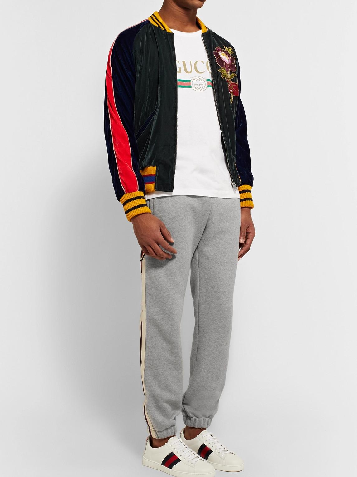 Gucci Pants APPLIQU�D LOOPBACK COTTON-JERSEY SWEATPANTS