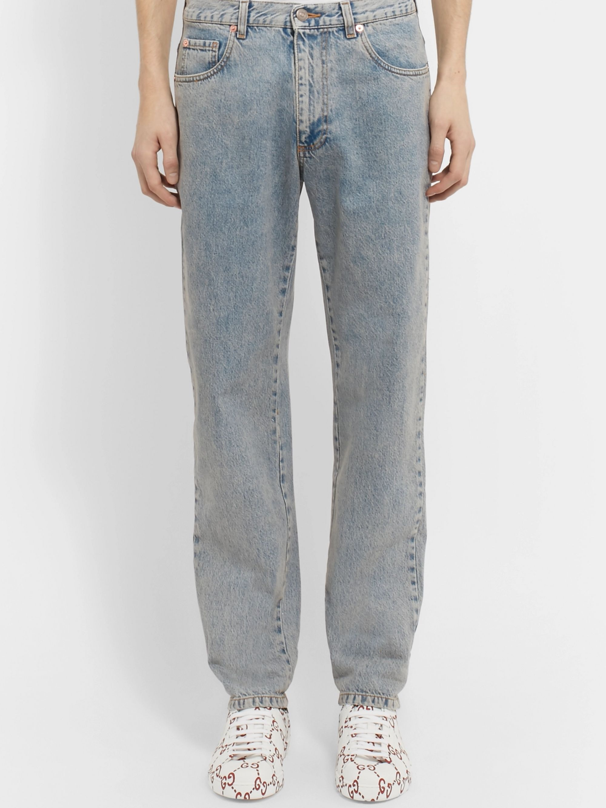 Gucci Printed Washed-Denim Jeans
