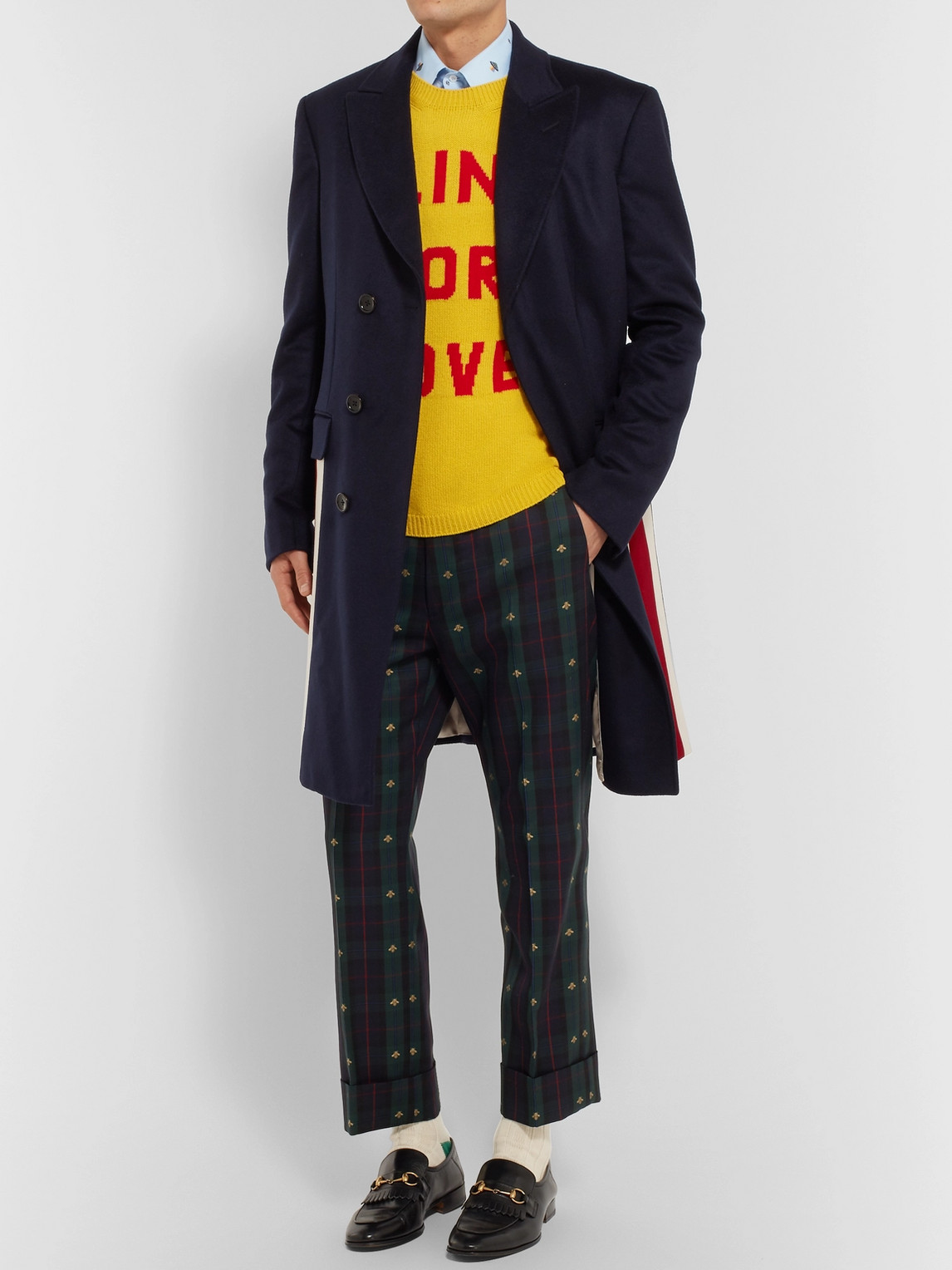 Gucci Coats STRIPE-TRIMMED CASHMERE AND WOOL-BLEND COAT