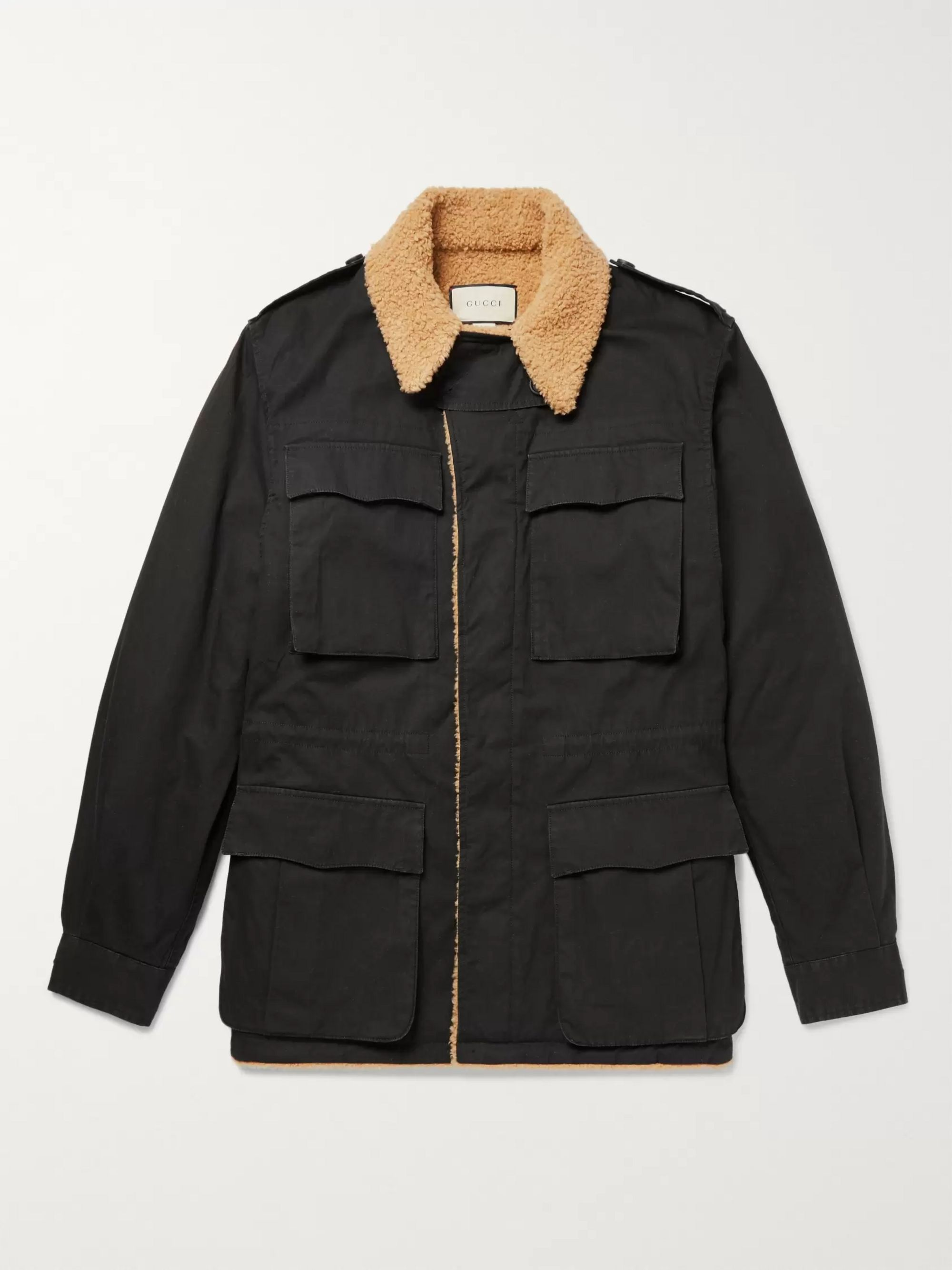 f56d005d4 Faux Shearling-Lined Logo-Printed Cotton-Canvas Jacket