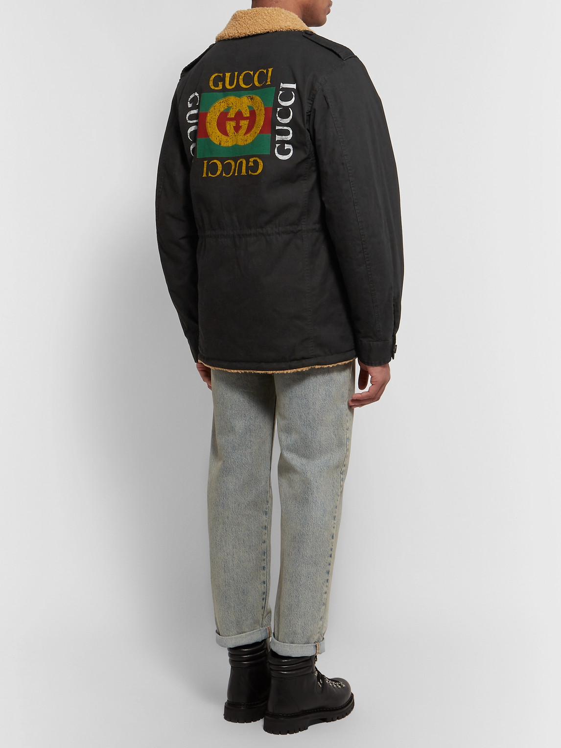 Gucci Jackets FAUX SHEARLING-LINED LOGO-PRINTED COTTON-CANVAS JACKET