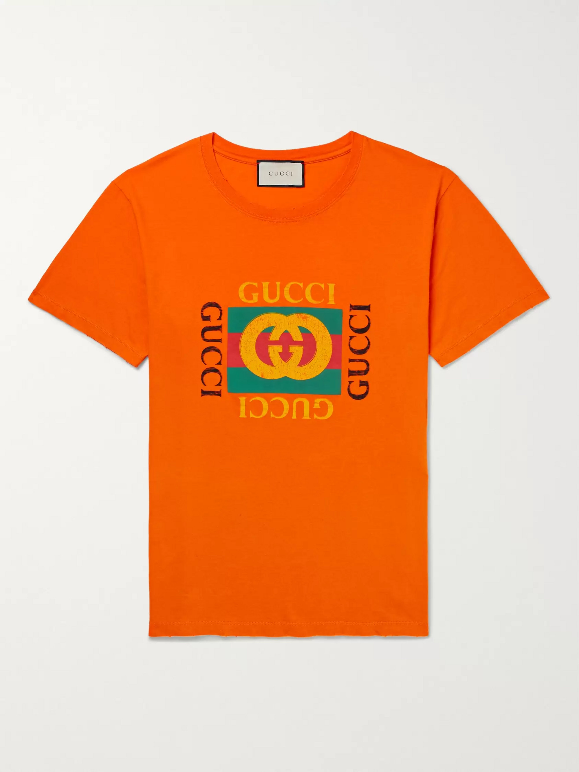 362dc74df Orange Distressed Printed Cotton-Jersey T-Shirt | Gucci | MR PORTER