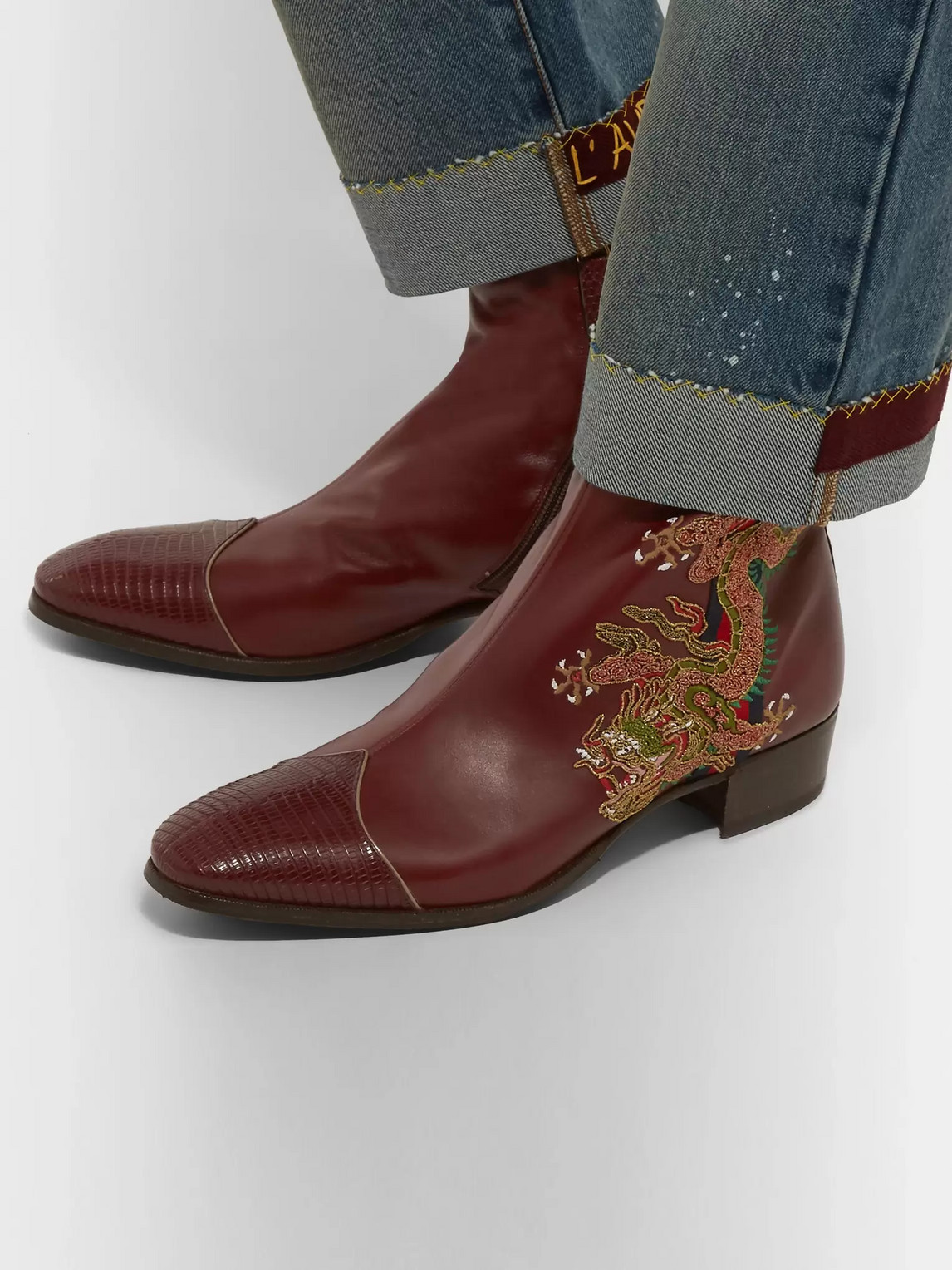 Gucci Boots WEBBING-TRIMMED EMBROIDERED LEATHER CHELSEA BOOTS